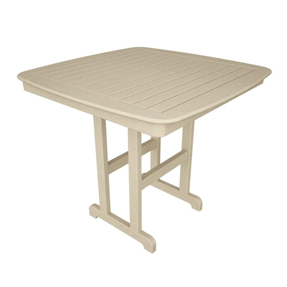 Nautical 44 in. Sand Plastic Outdoor Patio Counter Table