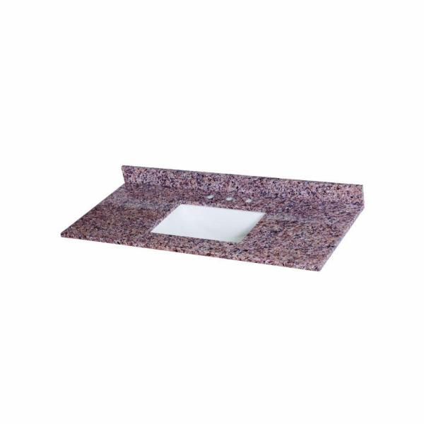 49 in. Stone Effects Vanity Top in Capri with White Sink