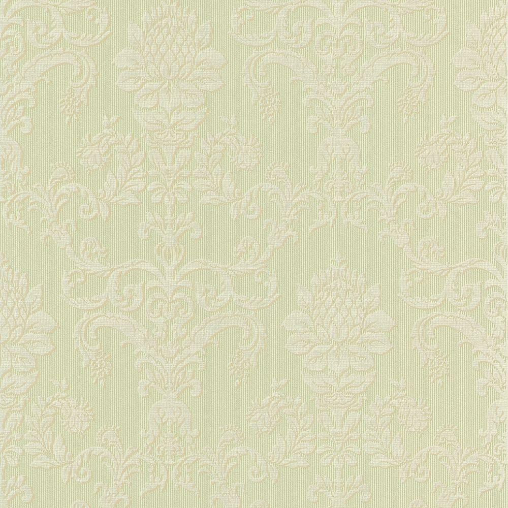 null 56 sq. ft. Louis-Philippe Green Damask Wallpaper