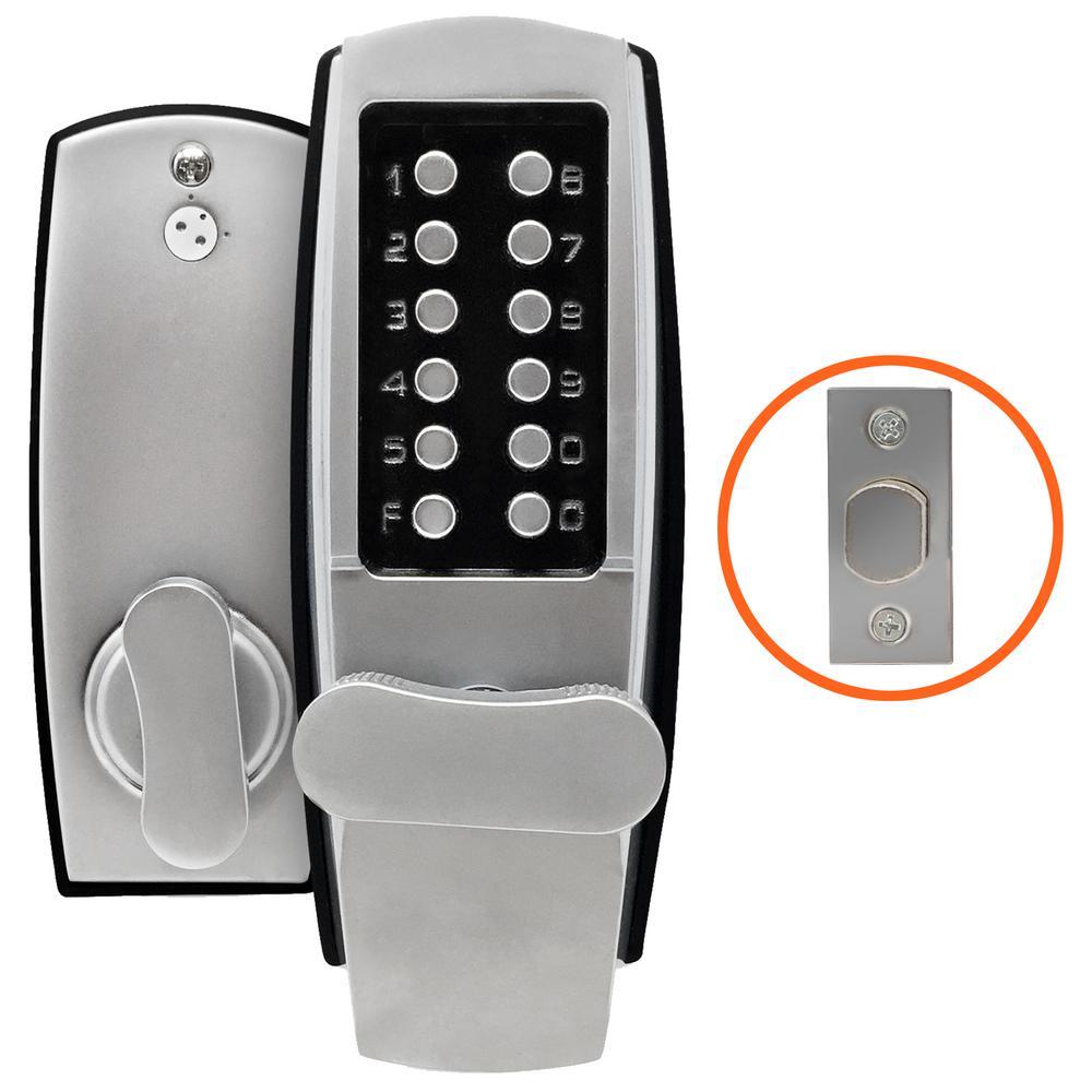 Satin Chrome Left-Handed Heavy-Duty Mechanical Push-Button Deadbolt