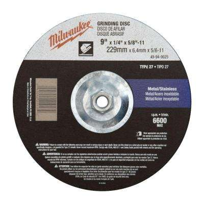 9 in. x 1/4 in. x 5/8-11 in. Grinding Wheel (Type 27)