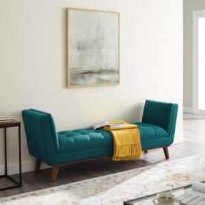 MODWAY Haven Teal Tufted Button Upholstered Fabric Accent ...