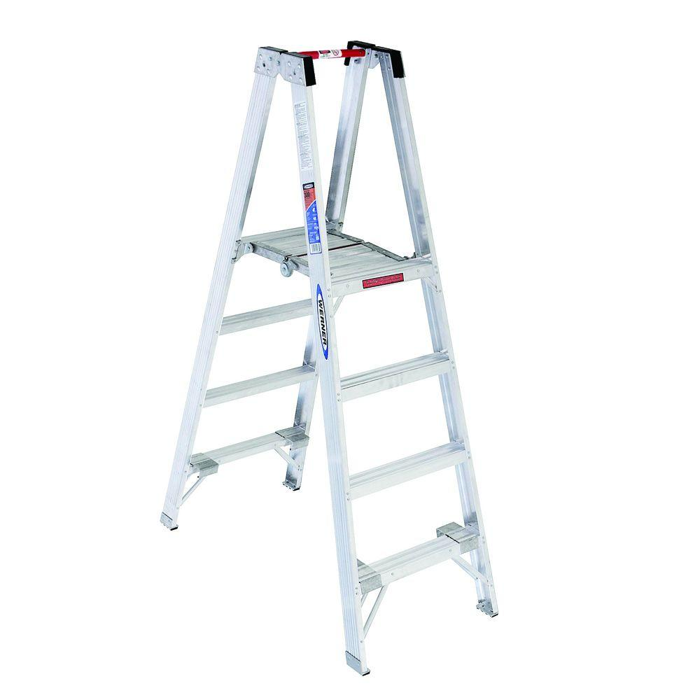 Werner 10 ft. Reach Aluminum Platform Twin Step Ladder with 300 lb. Load Capacity Type IA Duty Rating