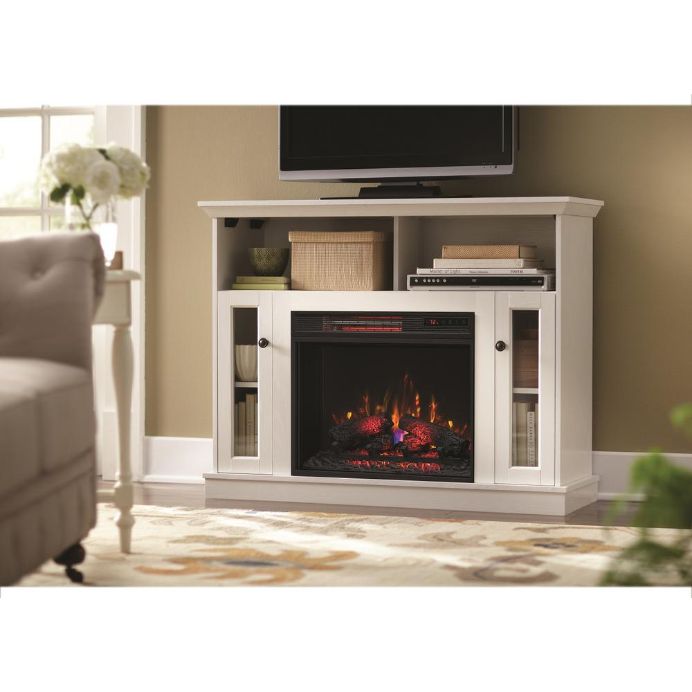 Provide a unique look to your living space by selecting this Home Decorators Collection Charles Mill Convertible TV Stand Electric Fireplace in White.