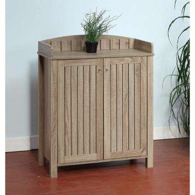 Slatted Pattern Shoe Cabinet with Molded Top Brown