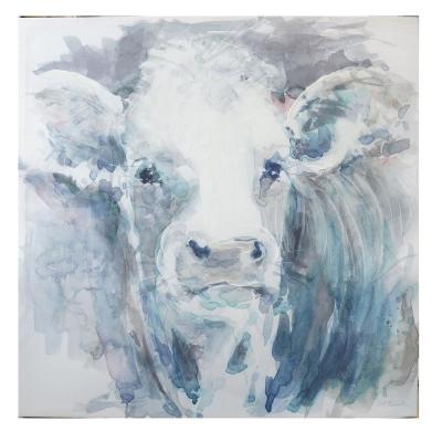Home Decorators Collection Unframed Square Canvas Acrylic Painting Cow Wall Art 40 in. H x 40 in. W