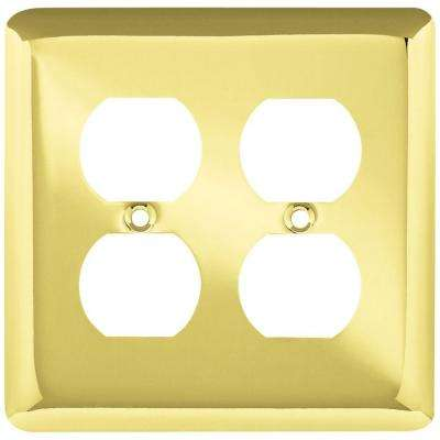 Stamped Round Decorative Double Duplex Outlet Cover, Polished Brass