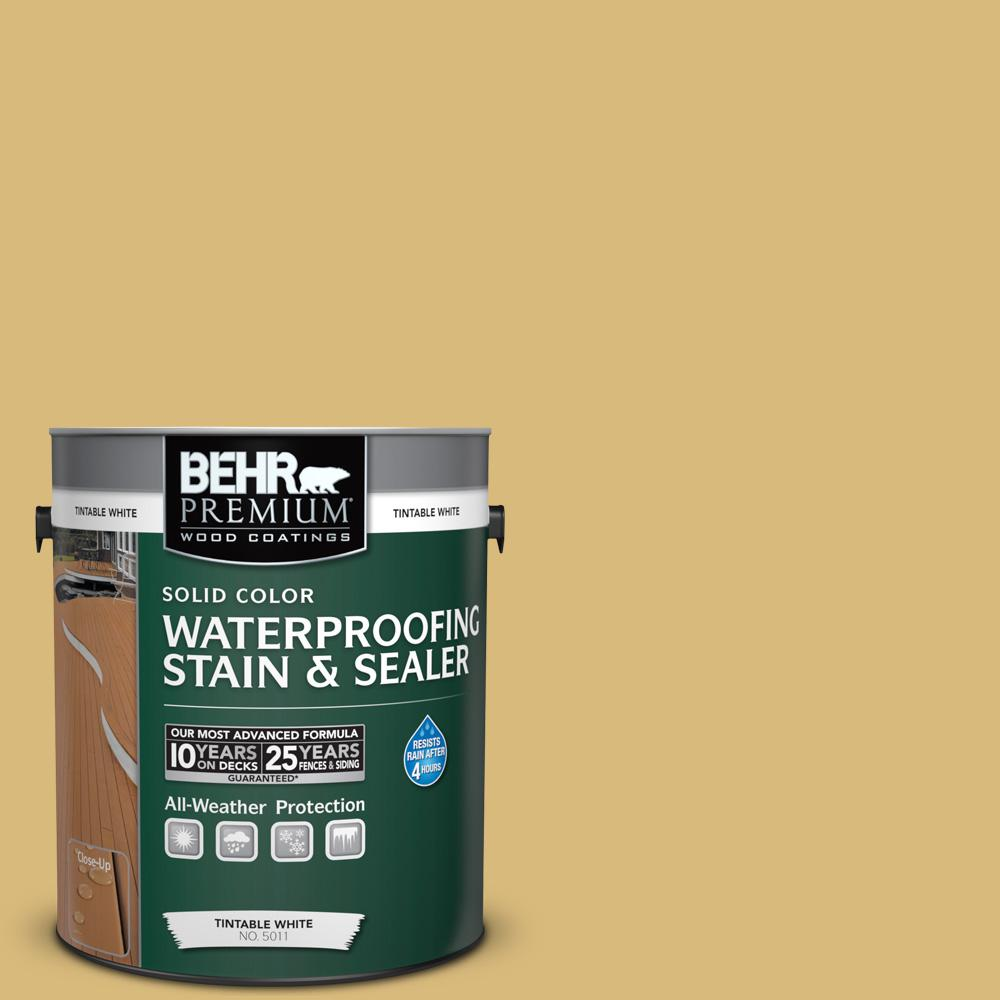BEHR Premium 1 gal. #SC-139 Colonial Yellow Solid Color Waterproofing Stain and Sealer