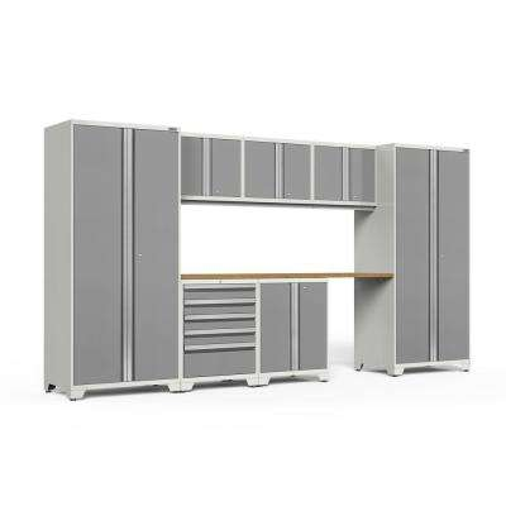 Pro 3.0 156 in. W x 83.25 in. H x 24 in. D 18-Gauge Welded Steel Bamboo Worktop Cabinet Set in Platinum (8-Piece)