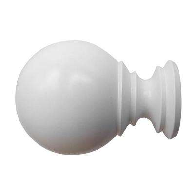 1-3/8 in. Wood Ball Finial in White