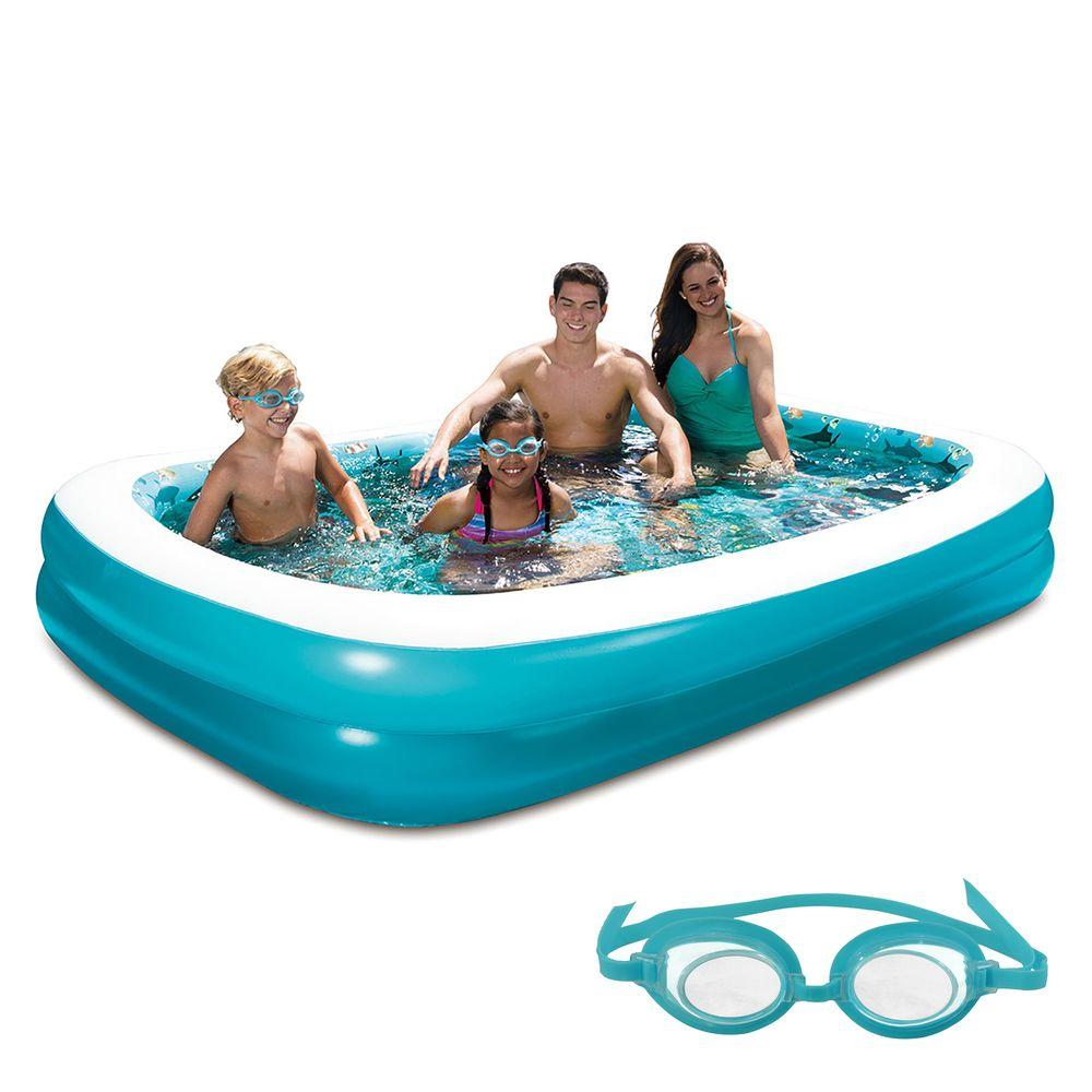 Blue Wave 103 in. x 69 in. Rectangular Family Inflatable Pool with 3D  Graphics
