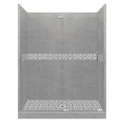 Del Mar Grand Slider 42 in. x 60 in. x 80 in. Center Drain Alcove Shower Kit in Wet Cement and Chrome Hardware