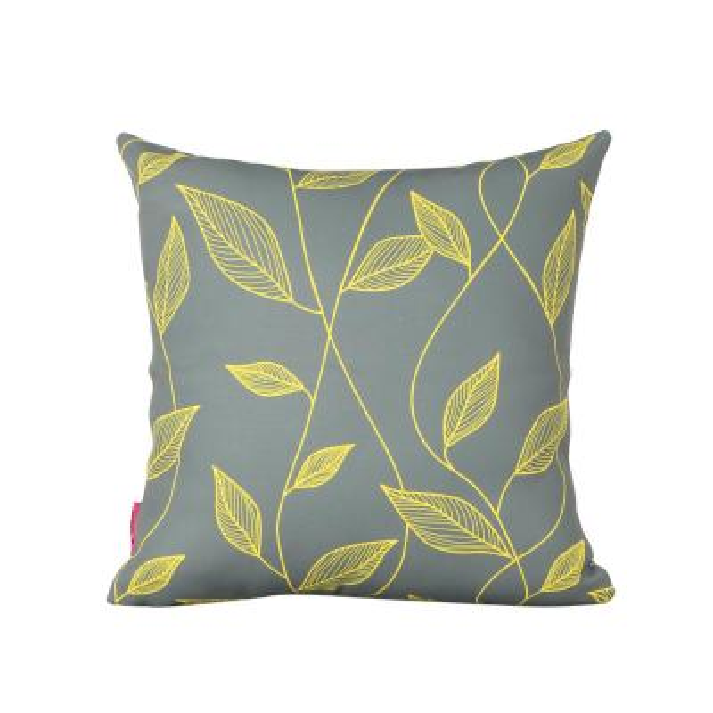 Magari Yellow and Grey Square Outdoor Throw Pillow