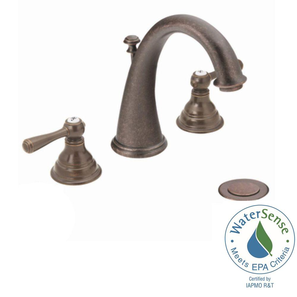 MOEN Kingsley 8 in. Widespread 2-Handle High-Arc Bathroom Faucet Trim Kit in Oil Rubbed Bronze (Valve Not Included)