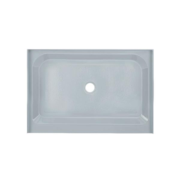 Voltaire 48 in. L x 32 in. W Alcove Shower Pan Base with Center Drain in Grey