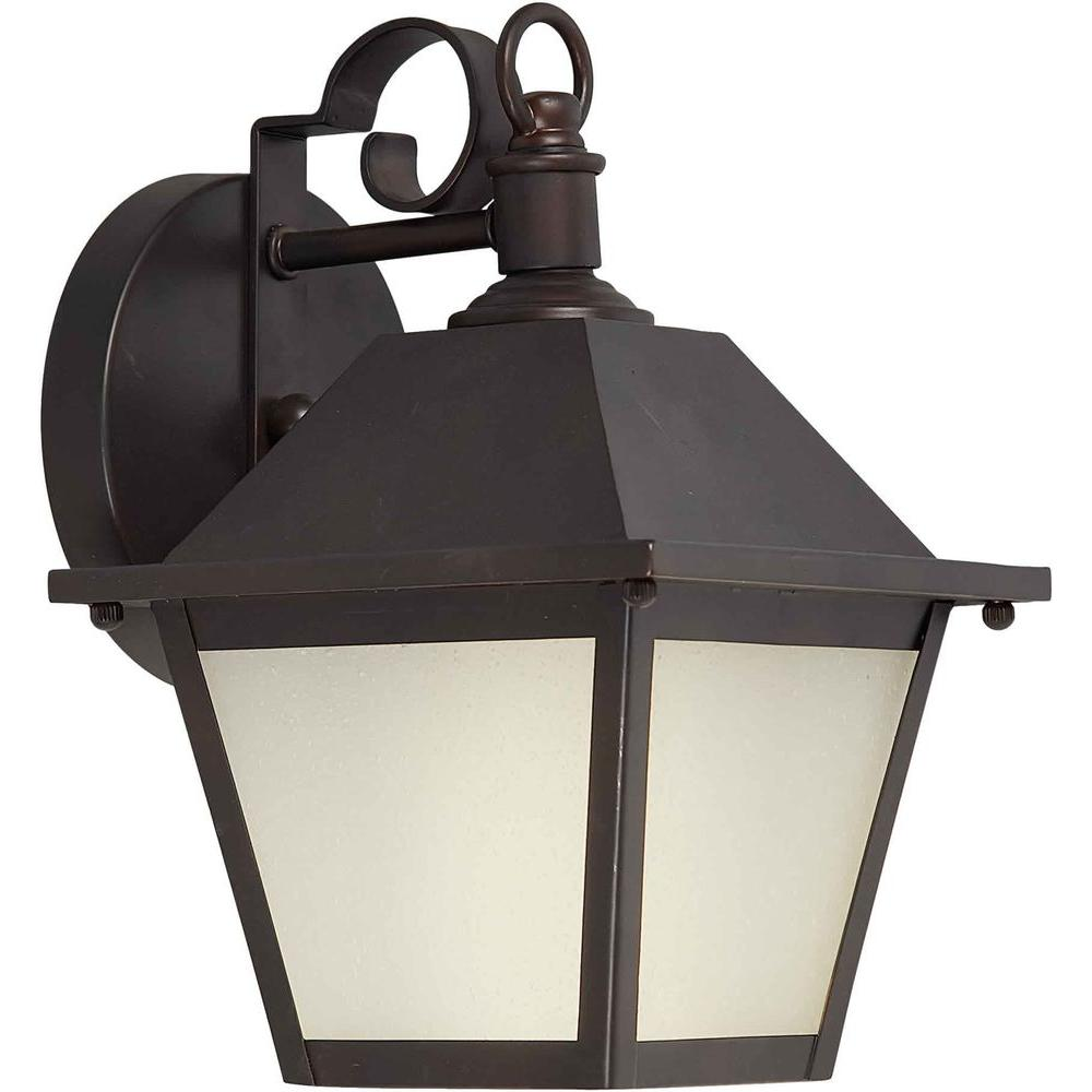 Talista 1 Light Outdoor Lantern Antique Bronze Finish Frosted Seeded Glass Panels