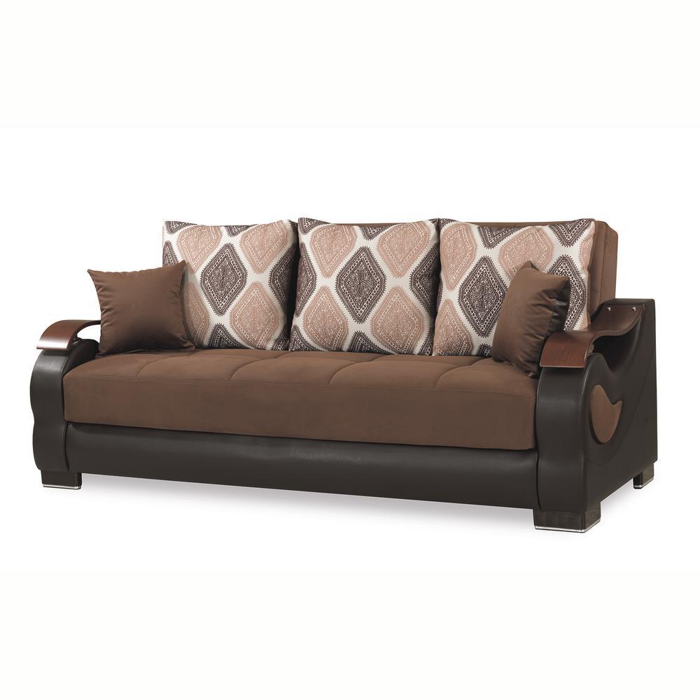 Metroplex 87 in. Dark Brown Microfiber 3-Seater Full Sleeper Sofa Bed with Storage