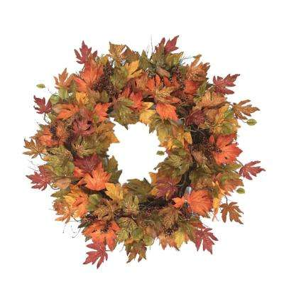 30 in. Unlit Artificial Harvest Maple Leaves Wreath
