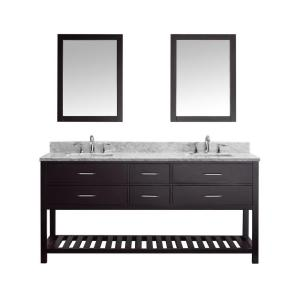 Virtu USA Caroline Estate 72 inch W x 36 inch H Vanity with Marble Vanity Top in Carrara White with White Basin and... by Virtu USA