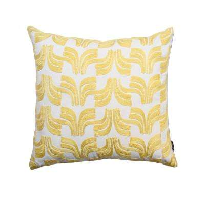 A1HC Geometric Embroidered 20 in. Decorative Down Filled Throw Pillow