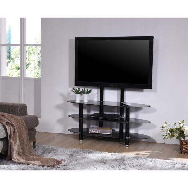 "TV Stand Storage Shelves Mount Bracket Up to 52/"" TV Glass /& Metal Frame in Black"