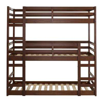 Solid Wood Walnut Twin Triple Bunk Bed
