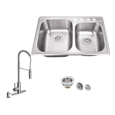 All-in-One Drop In Stainless Steel 33.125 in. 4-Hole 60/40 Double Bowl Kitchen Sink with Polished Chrome Kitchen Faucet