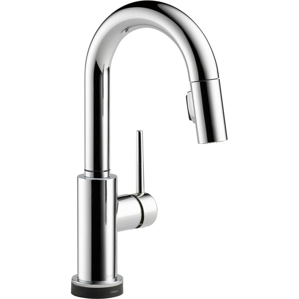 Delta Trinsic Single-Handle Pull-Down Sprayer Bar Faucet Featuring Touch2O Technology in Chrome
