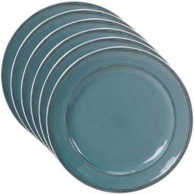 Orbit 6-Piece Teal 11 in. Dinner Plate Set