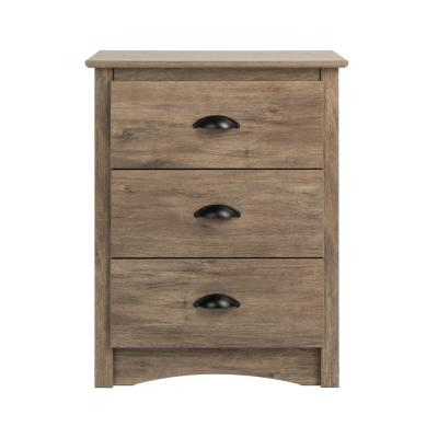 Salt Spring 3-Drawer Drifted Gray Tall Nightstand