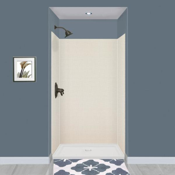 Expressions 36 in. x 48 in. x 72 in. 3-Piece Easy Up Adhesive Alcove Shower Wall Surround in Cameo