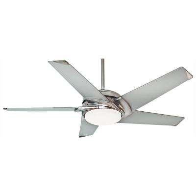 Stealth 54 in. LED Indoor Brushed Nickel Ceiling Fan with Light Kit and Universal Wall Control with Remote Control