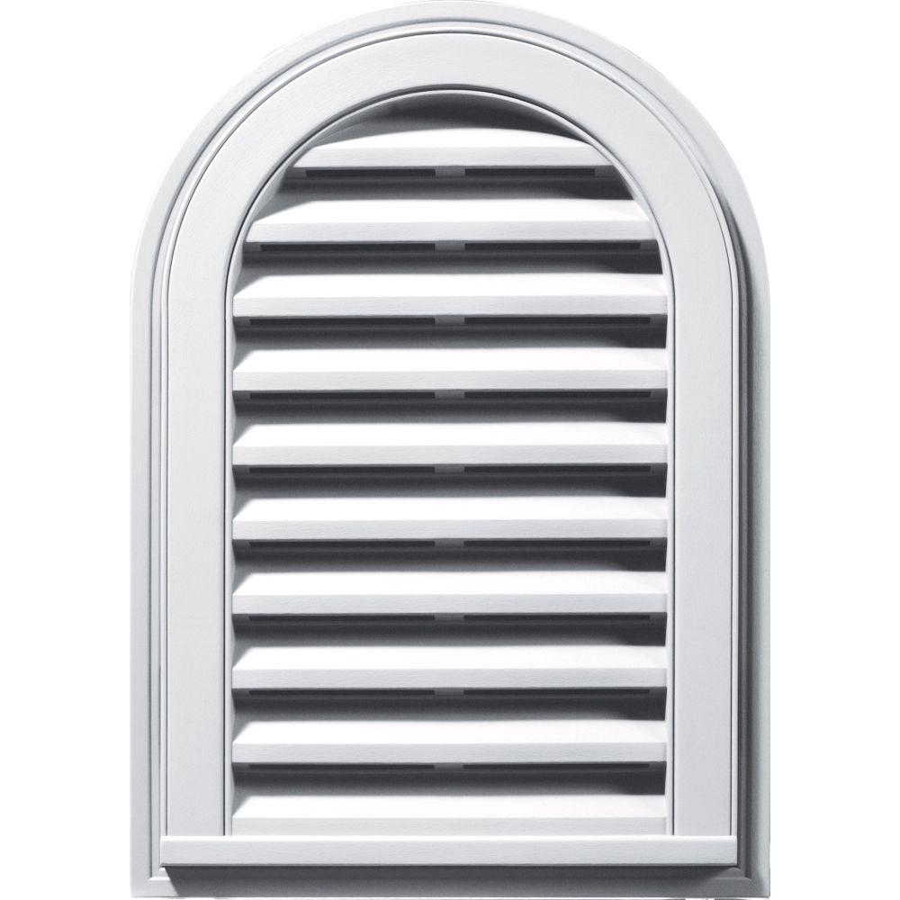 Builders Edge 14 in. x 22 in. Round Top Gable Vent in White
