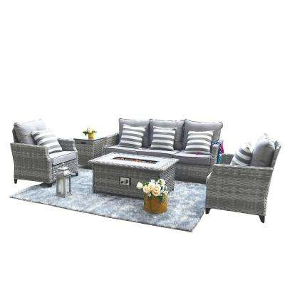 Maxwell 5-Piece All-Weather Wicker Patio Conversation Set with Gas Fire Pit Table and Gray Cushions