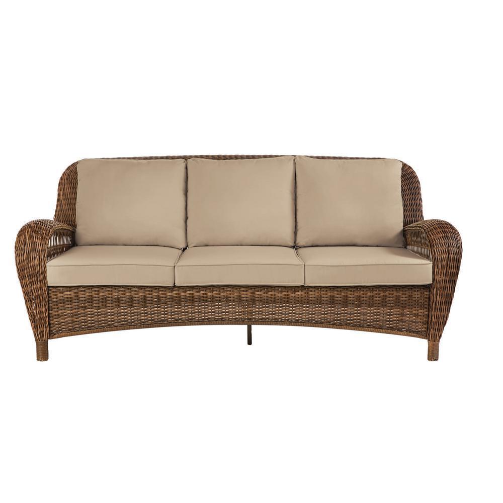 Beacon Park Brown Wicker Outdoor Patio Sofa with Sunbrella Beige Tan Cushions