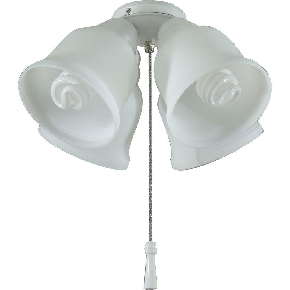 ceiling fan light fixtures. hampton bay 4-light universal ceiling fan light kit with shatter resistant shades fixtures