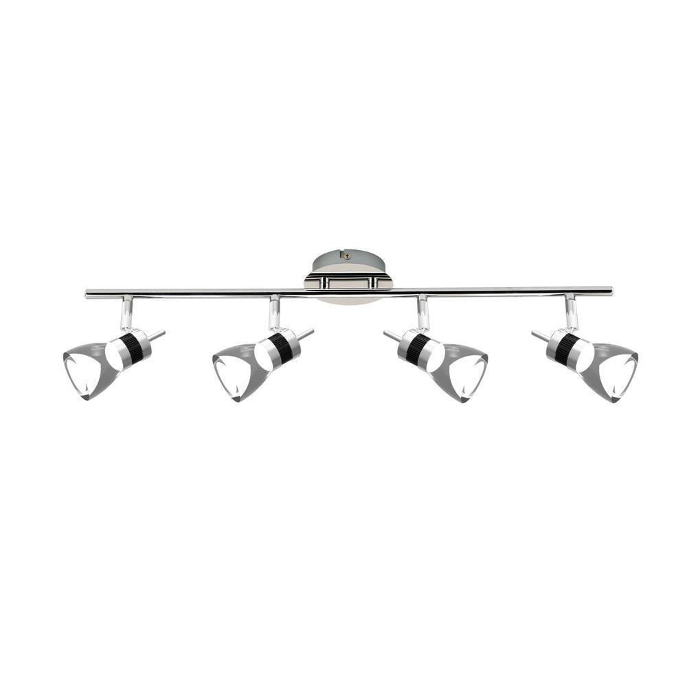 LED 25.2 in. 4-Light Brushed Chrome Integrated LED Track Lighting Kit