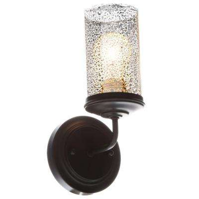 Sfera 5 in. W. 1-Light Autumn Bronze Wall/Bath Sconce with Mercury Glass