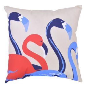 Ruby Flamingos Square Outdoor Throw Pillow