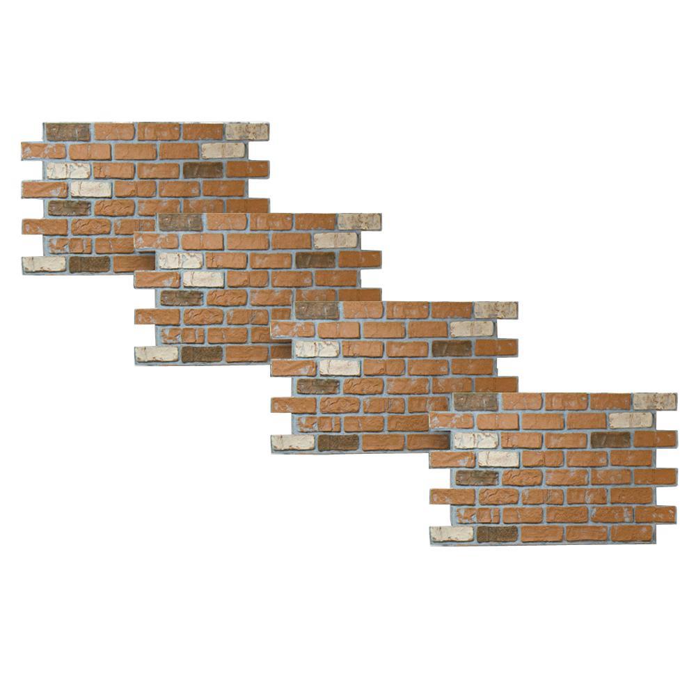 Sandstone 46-3/8 in. x 24 in. Faux Used Brick Panel (4-Pack)