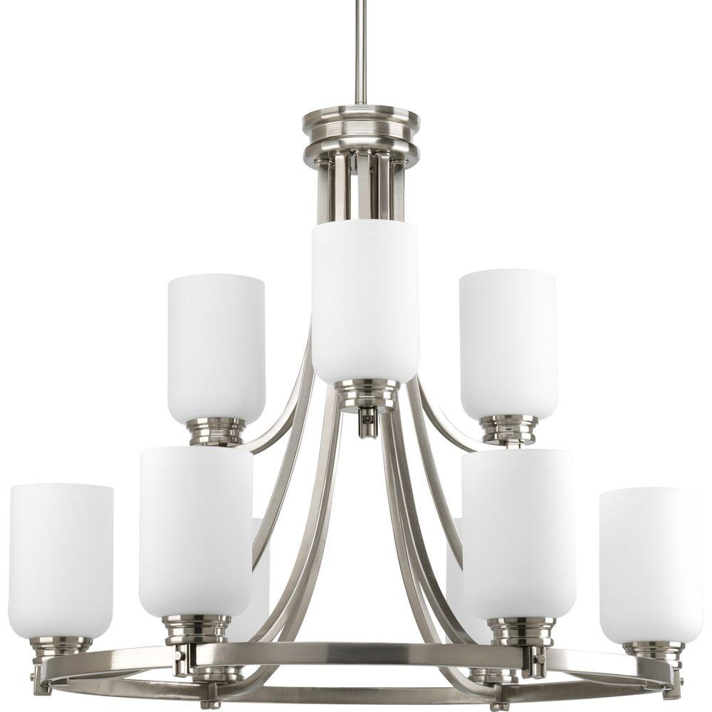 Progress Lighting Orbitz Collection 9-Light Brushed Nickel Chandelier with Opal Etched Glass Shade