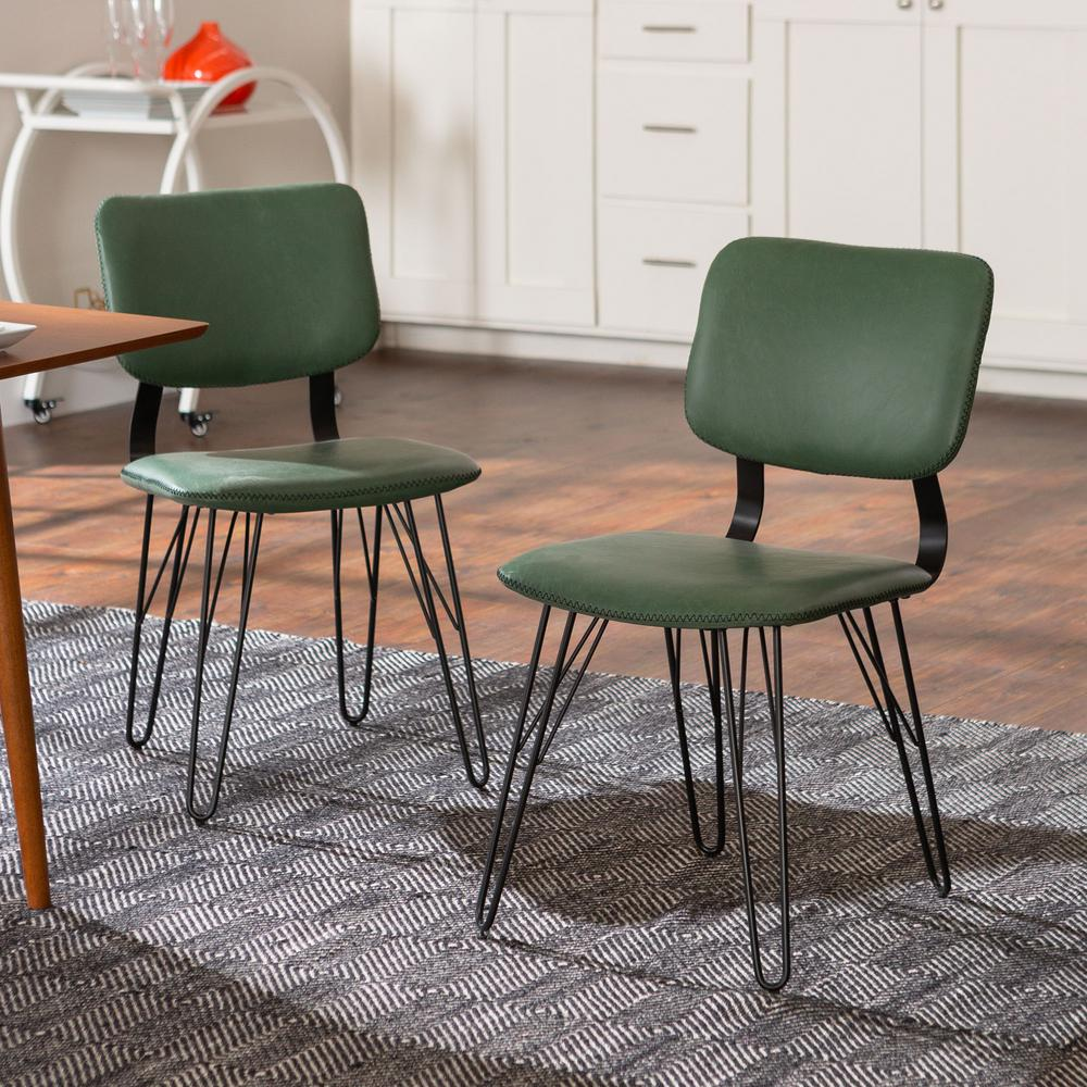 Walker Edison Furniture Company Flax Back Green Accent