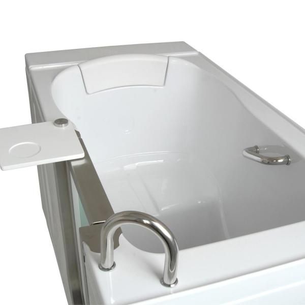 Ella Elite Acrylic 52 In Soaking Walk In Tub In White With Heated Seat And Lhs 2 In Dual Drain H03107 Hb The Home Depot