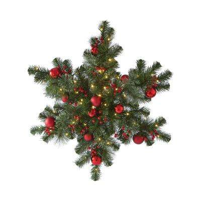 32 in. Pre-Lit Festive Snowflake with Cedar and Pine