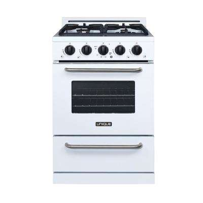 24 in. 3.1 cu. ft. Propane Off-Grid Range with Battery Ignition Sealed Burners in White