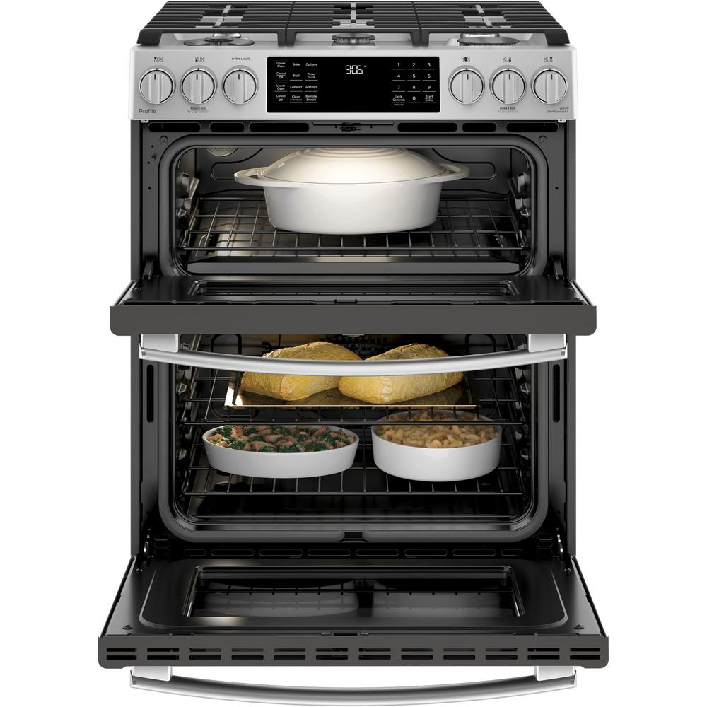 Ge Profile 6 7 Cu Ft Slide In Smart Double Oven Gas Range With Self Cleaning Stainless Steel
