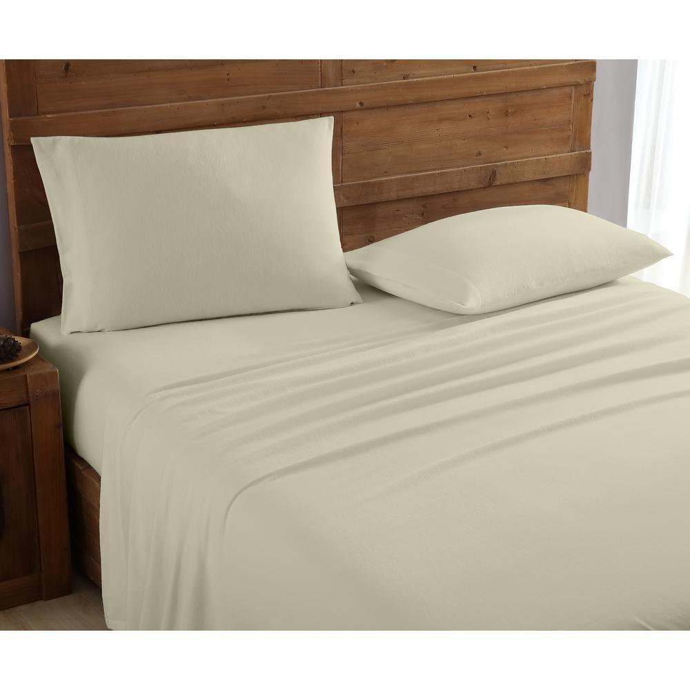Geraldine 100% Cotton Beige Flannel Twin Sheet Set M577529