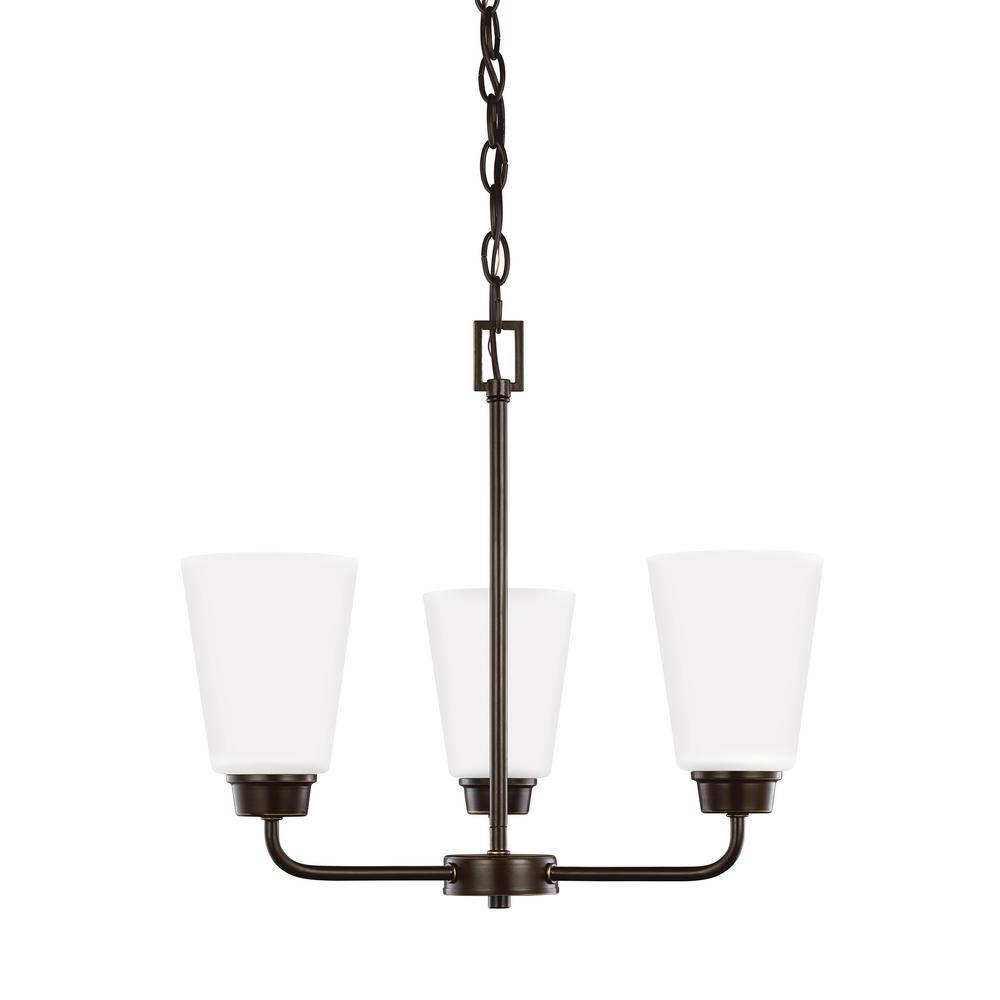 Kerrville 3-Light Heirloom Bronze Chandelier with LED Bulbs