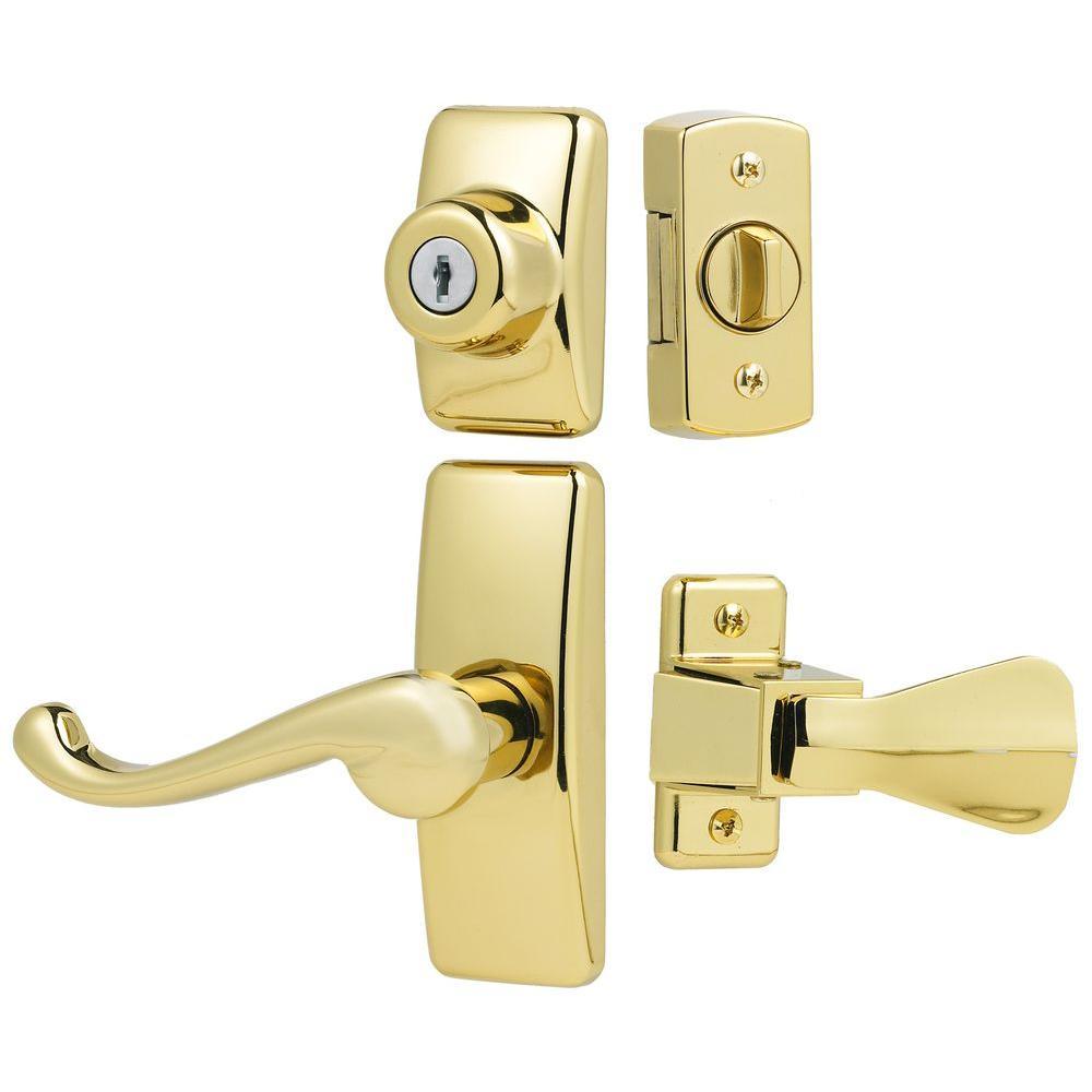 Deluxe Storm and Screen Door Lever Handle and Keyed Deadlock in Brass