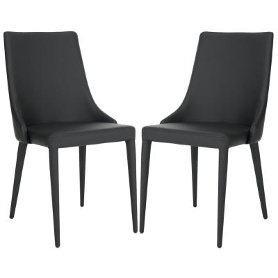 Summerset Black 19 in. H Leather Side Chair (Set of 2)